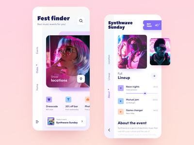 Fest Finder application entertainment festival service festival startup halo lab halo colourful design ux ui interface