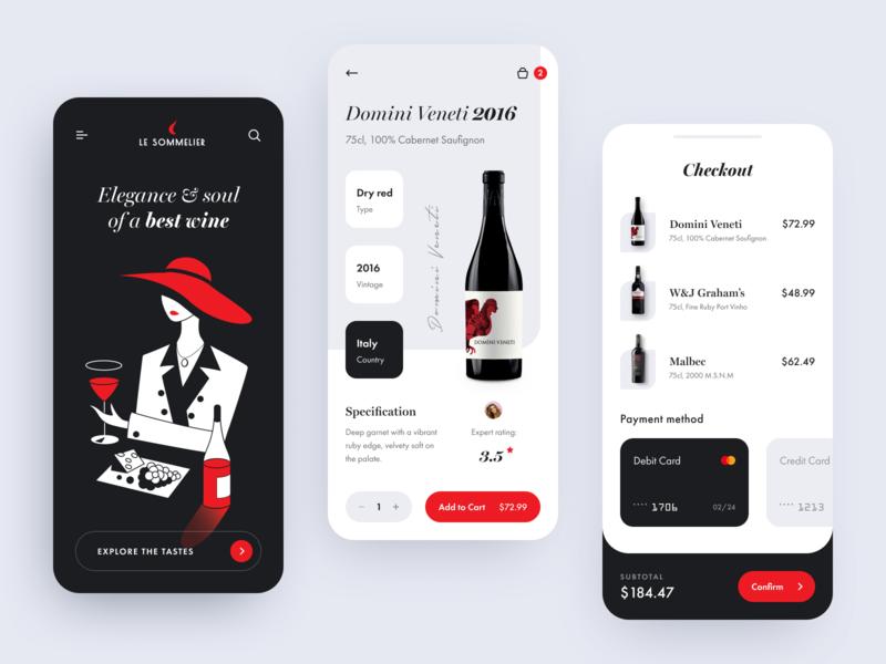 Le Sommelier App application wine barrel winery wine guide drink wine somelier startup halo lab design ux ui interface