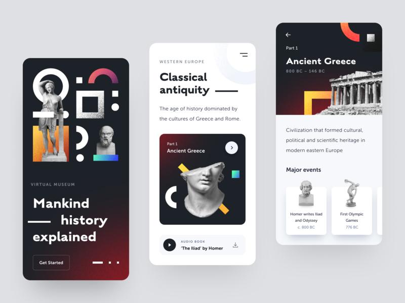 Virtual Museum App application virtual museum ancient history antiquity art exhibition museum ux ui startup interface design