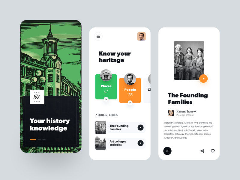 History Learning App old historical history blog heritage ux ui startup interface design application