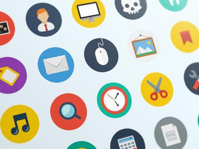 Flat Icons Set halo lab odessa ukraine flat icons set mac sound search mail picture