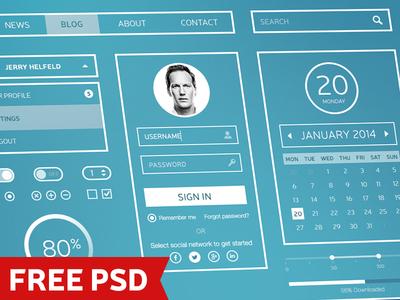 White Stripes - Free UI Kit halo lab ui psd free download web interface kit set heyllow