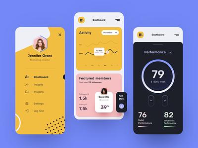 Brand Booster Mobile workload work tasks smm service job management hire expert entrepreneur employee content management business application ux ui startup interface design