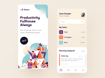 Chaart Productivity App collaborate organize project manager project management to do schedule planning management productivity task tracker task service task application ux ui startup interface design