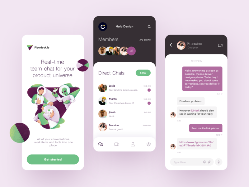 Flowdock Group Chat App talk update tool conversation team chat collaboration commercial communication chat universe ux ui startup interface design application