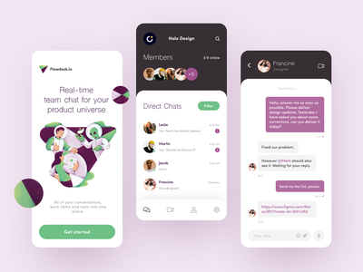Flowdock Group Chat App talk update tool conversation galaxy team chat app collaboration commercial communication chat alien space universe ux ui startup interface design application