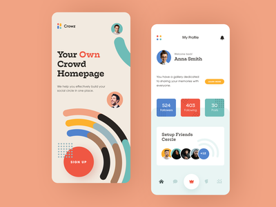 Crowz Mobile ux ui startup interface design application