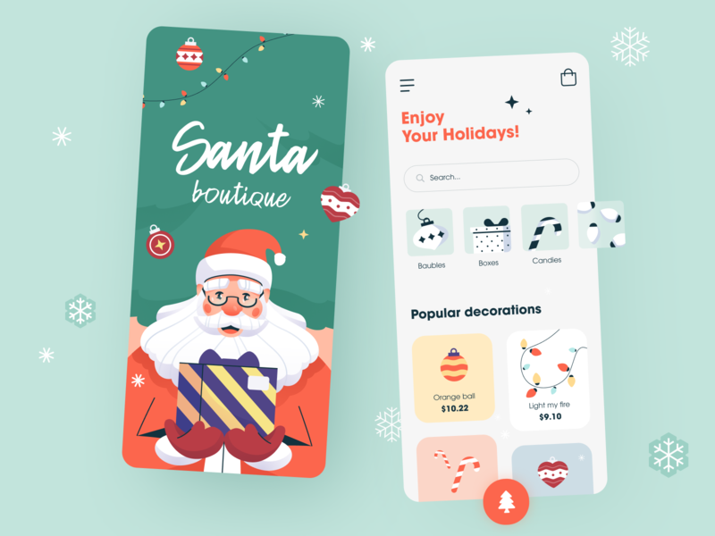 🎄 Santa Boutique application ux ui startup interface design presents joy cheerful festive holiday halo lab halo