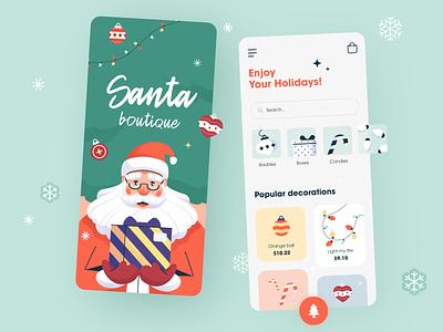 🎄 Santa Boutique application ux ui startup interface design presents joy cheerful festive holiday halo lab halo