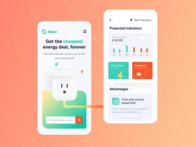Gizer Mobile application ux ui startup interface design