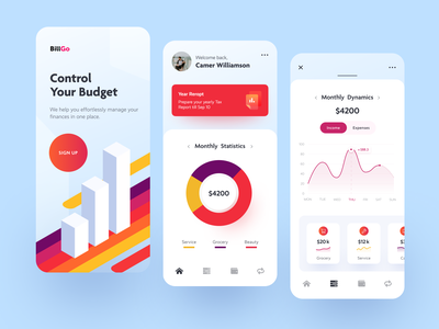 BillGo Mobile ux ui startup interface design application