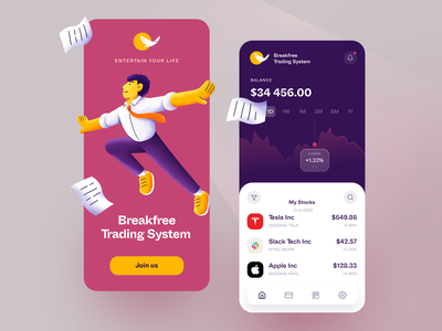 Breakfree Trading Mobile application ux ui startup interface design