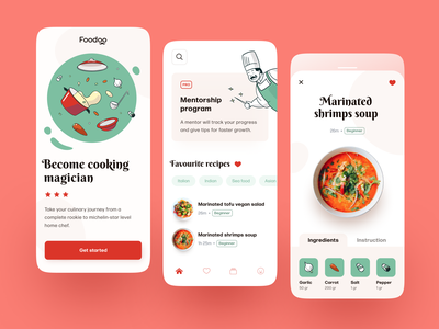 Foodoo Mobile application ux ui startup interface design