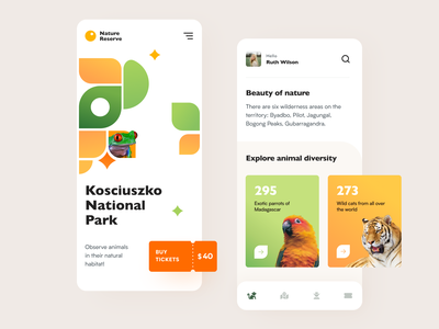 Nature Reserve Website application ux ui startup interface design