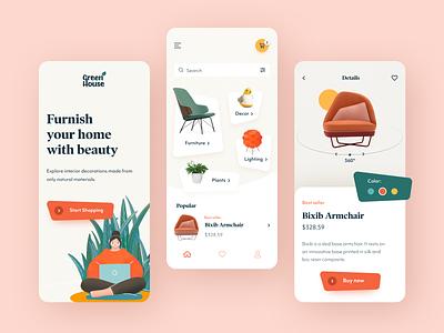 Green House Mobile startup start application design ux ui