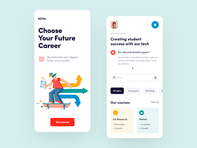 Koya Mobile interface startup application design ux ui
