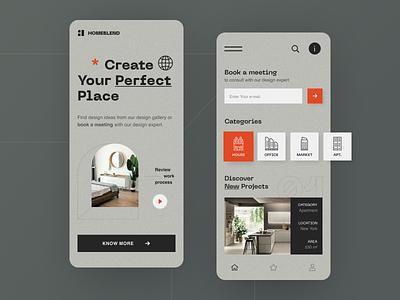 Homeblend Mobile application startup interface design ux halo lab ui