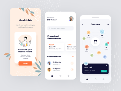 Health Me Mobile application startup interface design ux halo lab ui