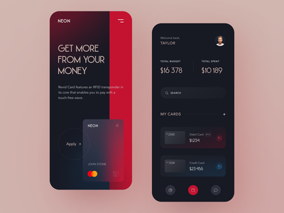 Neon Bank Mobile application startup interface design ux halo lab ui