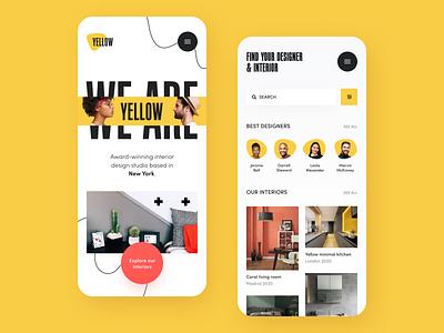 Yellow Interior Mobile application startup interface design ux halo lab ui
