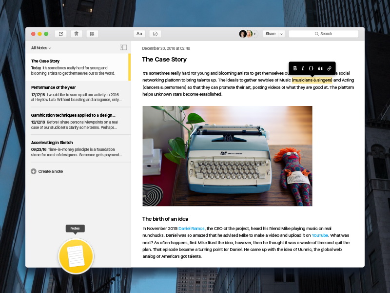 Notes OS X App Redesign halo lab concept redesign apple editor text ui notes osx mac