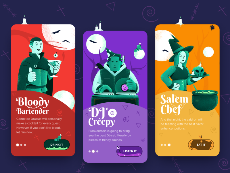 Halloween Party Welcome Screens halo lab halo welcome screen onboarding horror colorful ui ios mobile creepy stuff salem witches dribbbleweeklywarmup colourful party app masterpiece halloween marketing party app