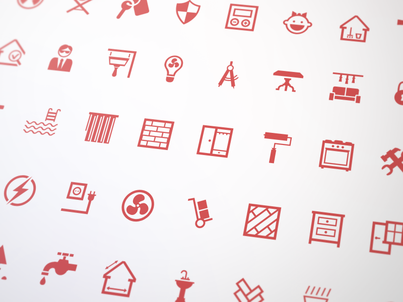 Real Estate Icons Set e-commerce illustration halo lab icon set website real estate icons icon glyphs home furniture