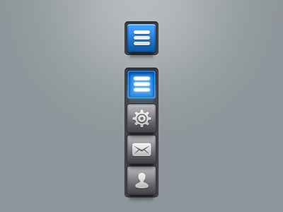Quickmenu playoff quick menu ui dropmenu list navigation web mobile buttom emboss design rebound psd