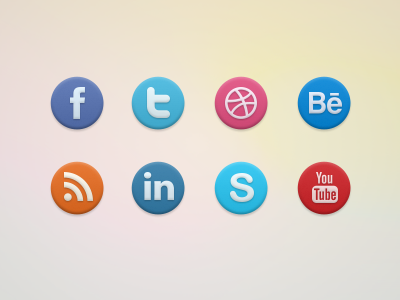 Social Icons icons emboss social facebook website twitter dribbble youtube skype behance rss linkedin contacts psd download round
