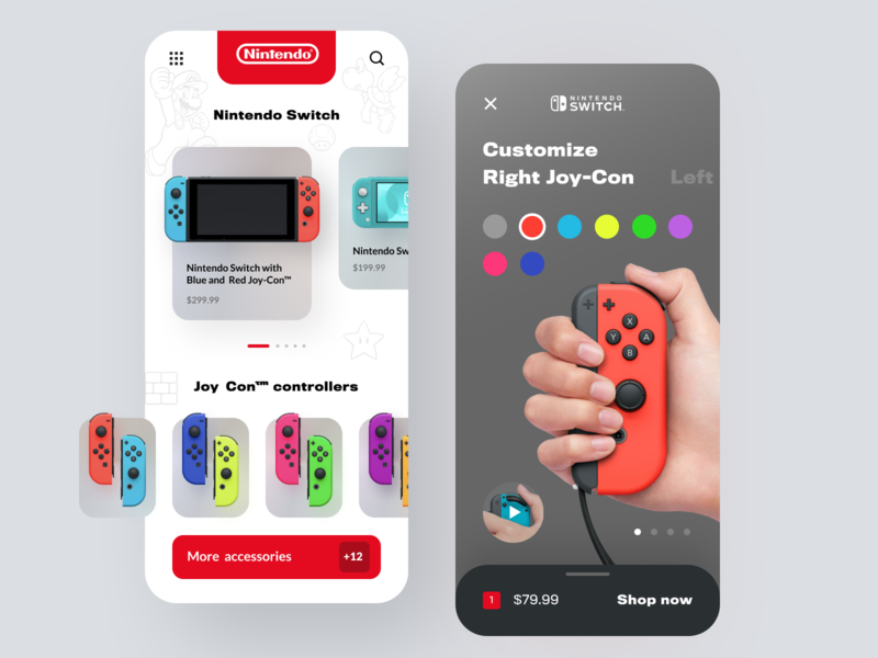 Nintendo Switch Store customization store ecommerce switch mobile app mobile android ios eshop game controllers game accessorize game app nintendo startup business halo lab halo colourful design app
