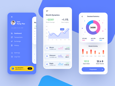 Crypto Coil Mobile economy bitcoin cryptocurrency application entrepreneur startup business halo lab halo colourful design mobile