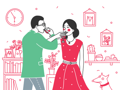 Supplementary Illustration Style Experiment vector linear character room flirt pair drink wine couple illustration