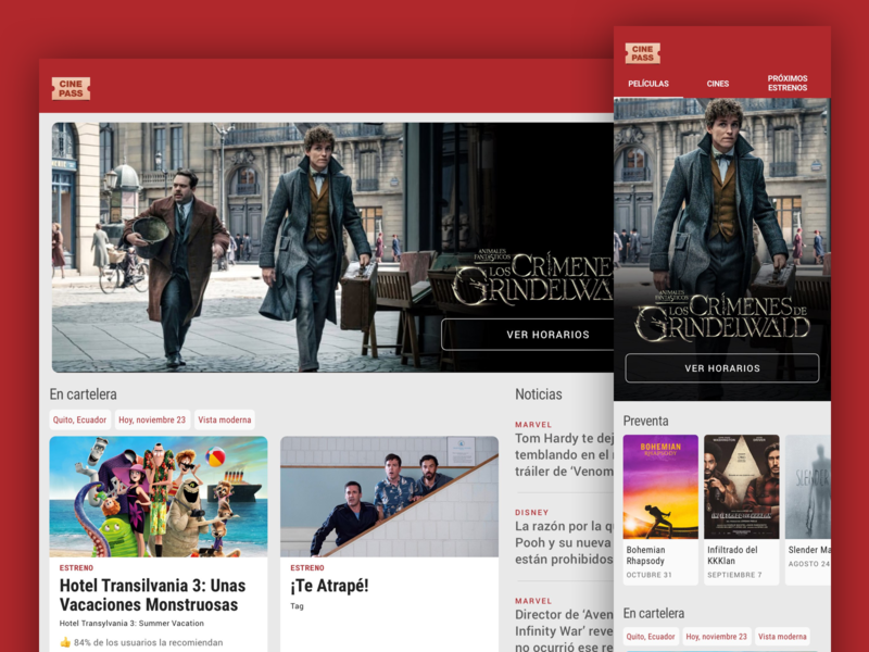 WIP - Redesign for showtimes site material web showtimes movie cinepass