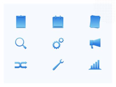 Custom icons ecuador skeumorphism skeuomorphic skeuomorph blue ui website web homepage icons figma