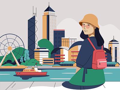 The Hong Kong tourism illustrations