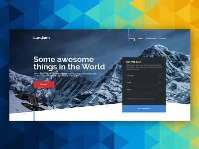 Landium creative ux web design responsive flat ui landing