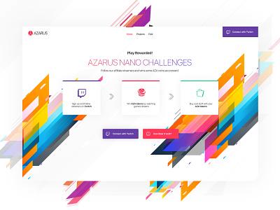 Azarus | Smart Chalenges for Streamers ui  ux design azarus twitch.tv colorscheme creative  design awesome design web desgin design app streamers game app ux design ui deisgn
