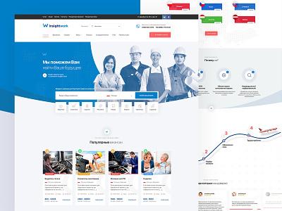 InsightWork | UI of website for work abroad abroad insightwork creative style guide art direction design prototype warframe web  design work ux ui ui deisgn
