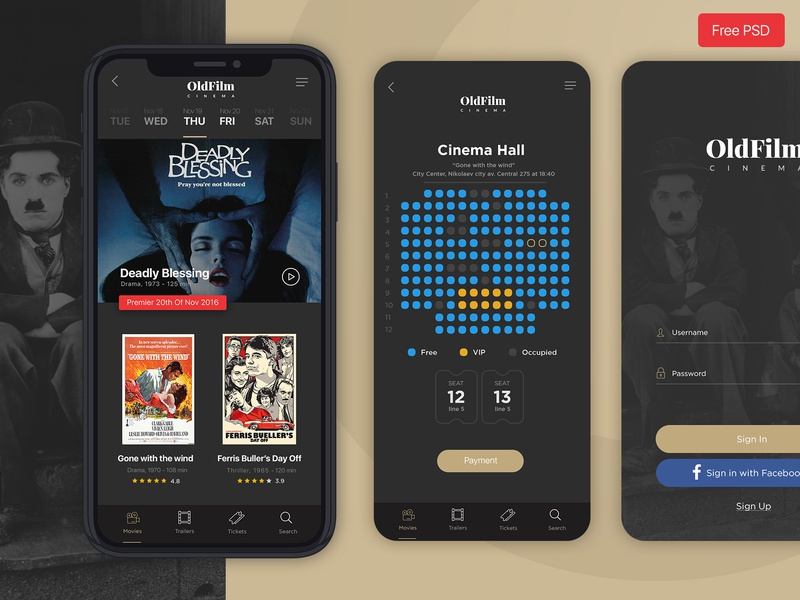 OldFilm | Cinema Mobile App psd psd download free psd free app film movies cinema black creative  design direction application design app mobile app mobile ui design ux designer ui ux