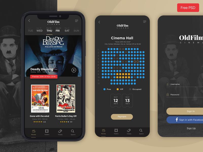 OldFilm   Cinema Mobile App psd psd download free psd free app film movies cinema black creative  design direction application design app mobile app mobile ui design ux designer ui ux