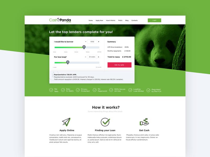 CashPanda   Loan Website UI Design website ui website design design loan cashmere creative web desgin art direction ui web design