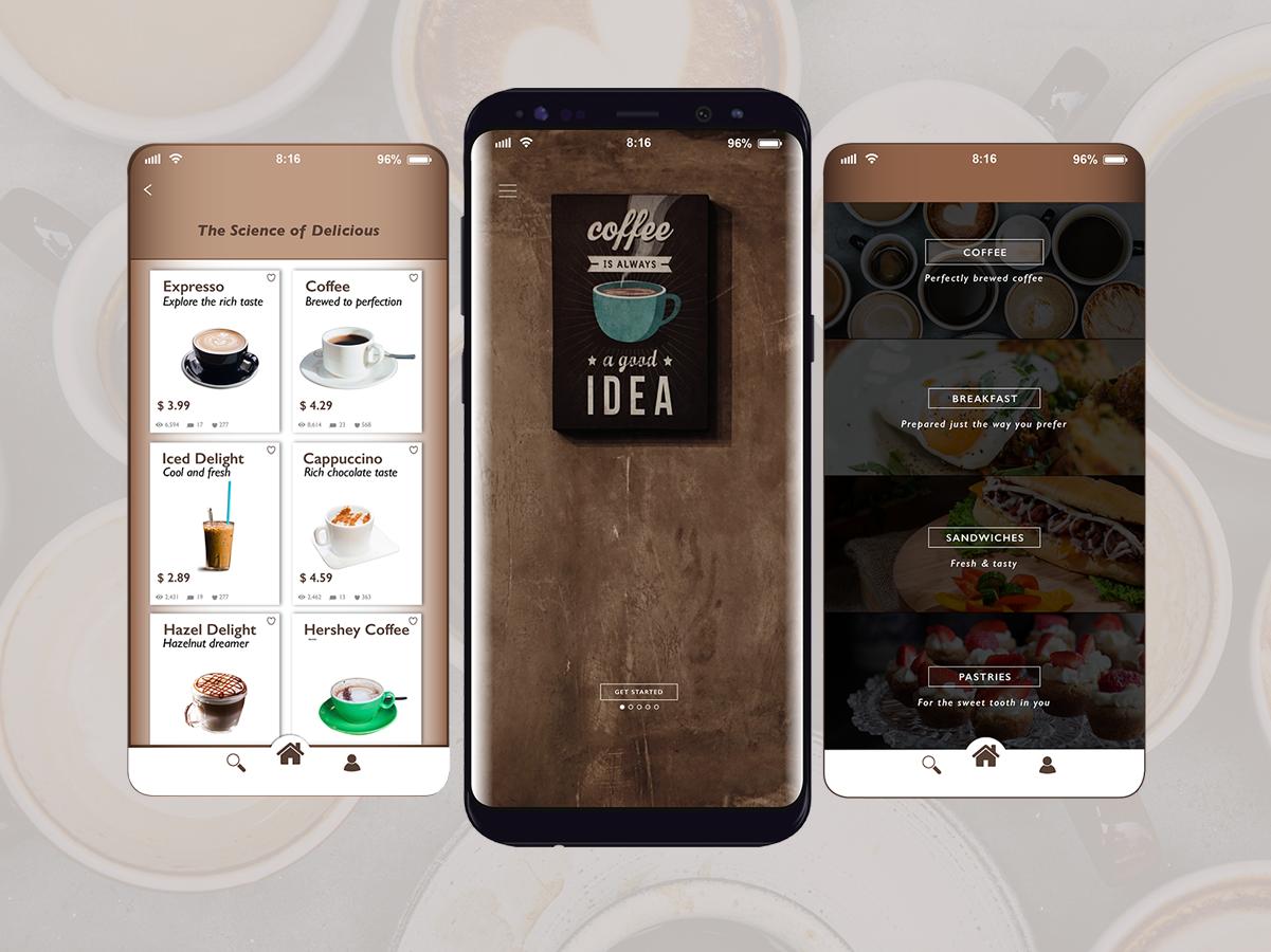 Coffee Shop App mobile app design mobile app vector art illustration typography vector art direction uxui design ux ui visual communication photoshop branding design