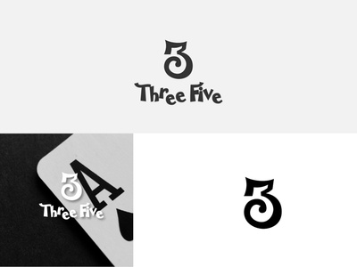 Three Five brand negative space logo 5 3 numeric negative space logomark branding logo