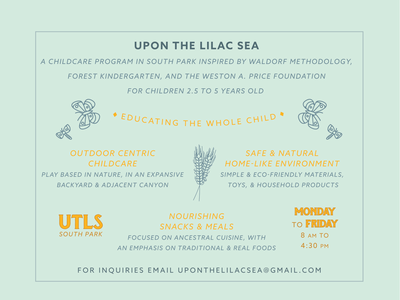 Back of flyer for Upon the Lilac Sea