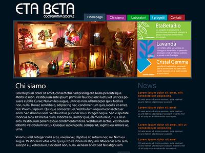 Eta Beta flat web website dark blue design ui