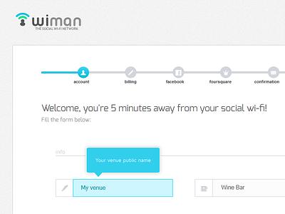 Wiman Registration Wizard | Step1 dailyui social wi-fi wiman multistep website flat form web ui registration wizard