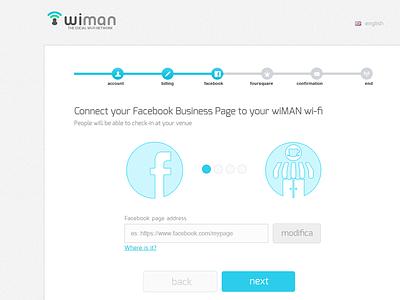 Wiman Registration Wizard | Step3 social wi-fi facebook wiman multistep form web design ui flat registration wizard