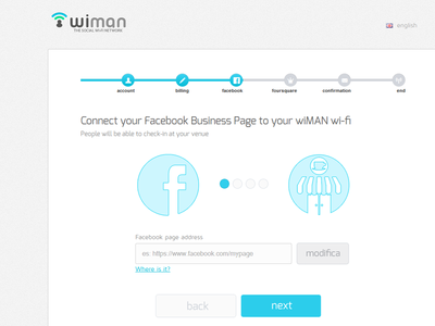 Wiman Registration Wizard | Step3 social wi-fi facebook wiman multistep form web design ui flat registration wizard