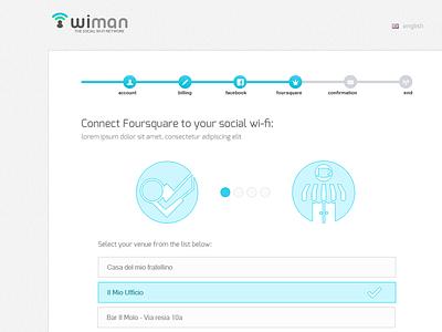 Wiman Registration Wizard | Step4 social wi-fi foursquare wiman multistep form web design ui flat registration wizard