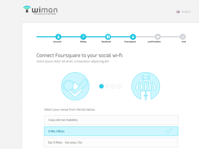 Wiman Registration Wizard | Step4 social wi-fi foursquare wiman multistep form web design ui flat registration wizard